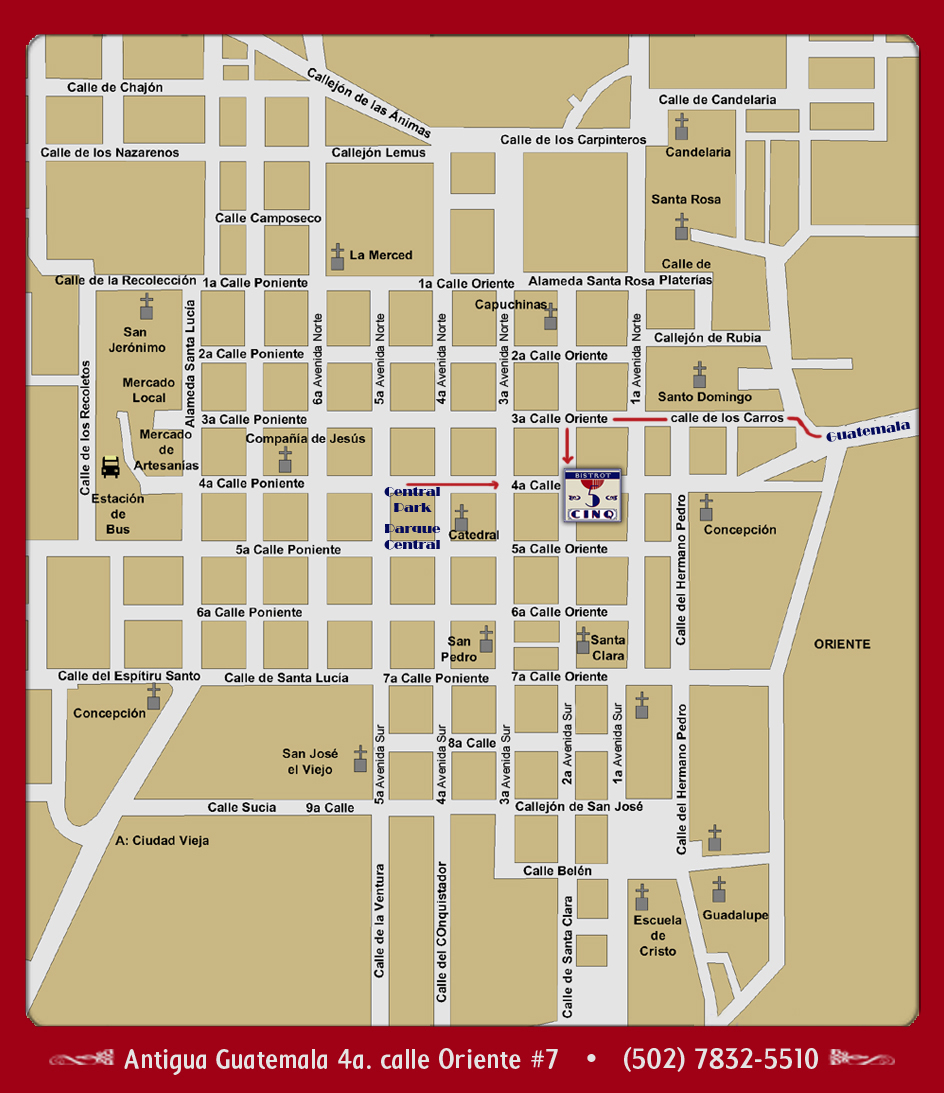 Bistrot Cinq Map Of Where We Are So You Can Find Us